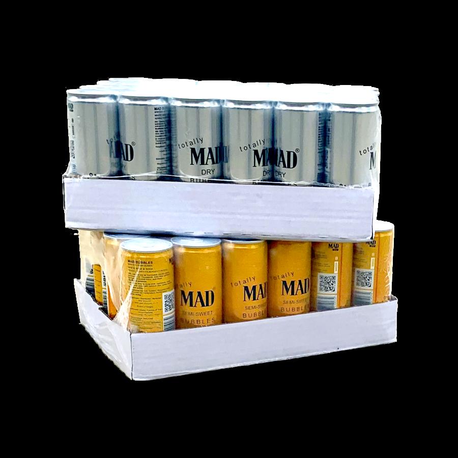 MAD BUBBLES csomag - 1 tálca száraz / 1 tálca félédes dobozos fröccs  (48 x 0,25l)